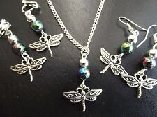 Dragonfly & Iridecent Bead Necklace & Earring Set    SP Chain Clip On or Pierced