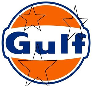 VINTAGE GULF OIL GASOLINE PETROL DECAL STICKER LABEL 9 INCH DIA 230 MM HOT ROD