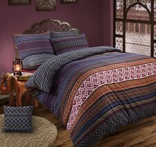Gold Blue Wine Red Multi Pattern Ethnic Aztec Reversible Duvet Cover Bedding Set King