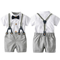 Baby Boys Wedding Christening Formal Smart Summer Outfits Romper Tuxedo 6 12 18