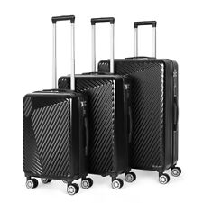 Black Luggage Sets 3 Piece Travel Spinner Suitcase Lightweight ABS 20'' 24