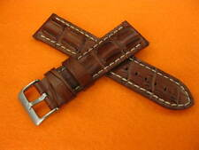 24mm Pam 1950 LUMINOR Dark Brown Strap Gator Hornback Grain Leather Tang Band