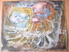 Vintage Gallery European Paper Watercolor Abstract Skull & Scorpion Scary Style