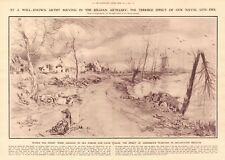 1914 ANTIQUE PRINT- WW1- ART-ALFRED BASTIEN- EFFECT OF NAVAL GUN FIRE