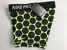 "Nike Pro Combat 3"" Compression Shorts Black Volt Yellow Big Dots NWT Womens XS"