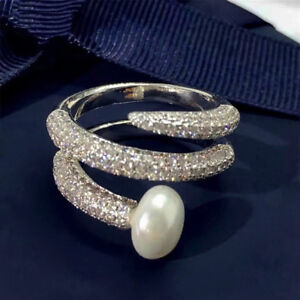18k White Gold GP Fresh Water Pearl Ring made w/ Swarovski Crystal Pave Stone