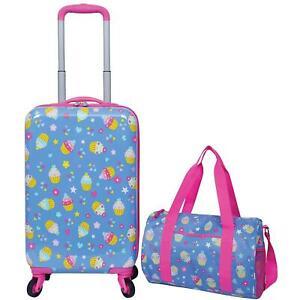 Kids 2 Piece Travel Set, Rolling Upright Luggage w Duffel Bag (Choose Theme)