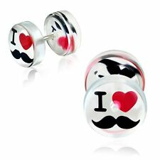 Clear Acrylic Heart I Love Mustache Faux Fake Ear Plug pair CBY110