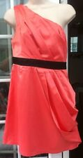 AX OF PARIS PEACH SATIN SINGLE SHOULDER SHORT LINED DRESS - SIZE 12