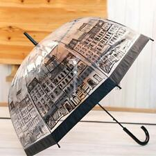 Dome Shape Umbrella Transparent Clear Printed Rain Brolly Ladies Gents London
