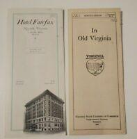 Antique Travel Brochure Old Virginia Hotel Fairfax Norfolk Advertising 1920's