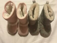 Baby Girl Set Of 2 Pairs Shoes Booties 0-3 And 3-6 Months