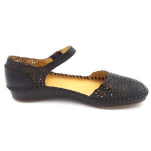 Pikolinos Leather Quarter Strap Shoes Floral Vallarta Black