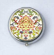 Ornate Floral Pattern #6 PiLL case pillbox pill holder flowers botanical