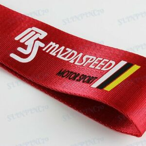 Car Tow Strap Belt Red JDM MAZDASPEED Racing Drift Towing Hook for MAZDA x1