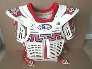 Vintage JT Racing  Motocross MX Chest Protector Made in USA WHITE & RED & BLUE