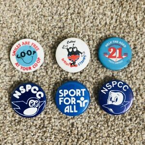 6 x VINTAGE 1980s Button Badges - Co-Op/NSPCC/British Stamps/Help The Aged/Sport