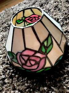 Tiffany Style Stained Glass Sunrise Hanging Lamp Handcrafted 7.5 Inches Wide