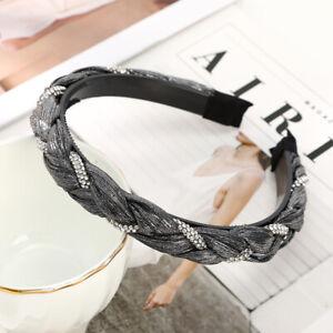 Rhinestone Braided Headband for Women Fashion Non-slip Hairband Hair Accessories