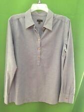 8386) TALBOTS sz medium M blue denim pullover blouse shirt 100% cotton M