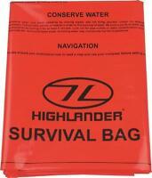 Highlander Waterproof Double Survival Bag  Survival Instructions ORANGE Walking