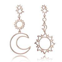 Fashion Rhinestone Jewelry Alloy Long Drop Earrings Dangle Gold Sun Moon Star