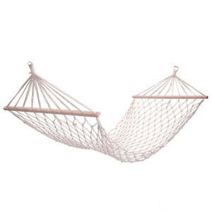 Cotton Rope Hammock with Spreader Bar Hanging Bed Swing Travel Patio Yard Porch