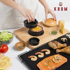 Burger Press Kit with Grill Mat - Burger Chef- Non-Stick 3-in-1 Stuffed Burger M