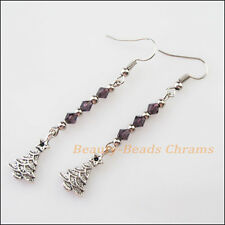 Winsome Silver Retro Christmas Tree Purple Crystal Dangle Hook Earrings Women