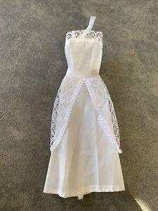 RARE Barbie Doll White Silver Satin Wedding Dress Vintage