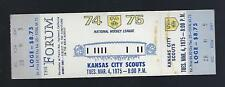 1974-75 NHL KANSAS CITY SCOUTS FIRST YEAR @ LA KINGS FULL UNUSED HOCKEY TICKET