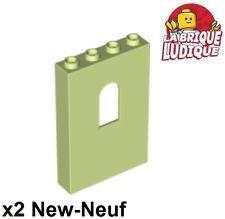 Lego - 2x Panel Panneau 1x4x5 Window jaune vert/yellowish green 60808 NEUF
