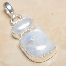 Fuego Blanco Arcoíris Piedra Lunar ópalo plata de ley 925 4.4cm Colgante P05994