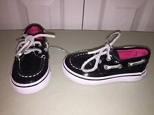 NEW SPERRY TOP SIDER BAHAMA TODDLER SZ 5.5 BLACK SEQUINS GIRLS SO CUTE