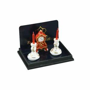 Dollhouse Miniature Reutter Red Mantle Clock with Porcelain Candlesticks 1.603/5