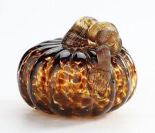"""New 5"""" Hand Blown Art Glass Pumpkin Sculpture Figurine Fall Harvest Amber"""
