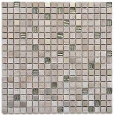 Naturstein Glasmosaik Fliese Holzoptik Edelstahl grauweiß WB92-2002 |1Matte
