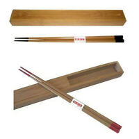 Portable Travel Bamboo Chopsticks Reusable with Case Holder Red or Black