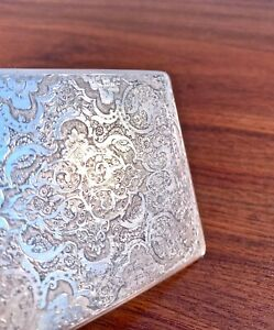 PERSIAN SOLID SILVER CIGARETTE OR CARD CASE ALL HAND ENGRAVED - NO MONOGRAM 144G