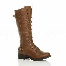 WOMENS LADIES LOW HEEL LACE UP ZIP BIKER ARMY COMBAT MILITARY CALF BOOTS SIZE