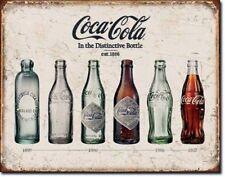 Retro Metal Sign Coca Cola Bottle Evolution History Vintage Advertising Coke