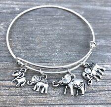 Elephant Family Of 4 Silver charms Expandable Bangle Bracelet