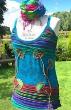 DREAMY TURQUOISE PIXIE VEST TOP UK SIZE 10 12  BOHO HIPPIE FESTIVAL YOGA DREADS