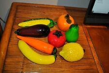 Murano Glass Vegetables & Fruit 8 Pcs Corn, Eggplant, Orange, Banana, Pear  etc