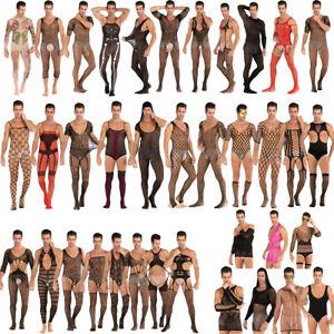 Sexy Mens Lingerie Stockings See Through Mesh Net Bodysuits Full Body Underwear