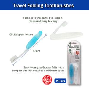 2Pc Folding Toothbrushes 1st Care Medium Size Travel Portable Set Portable
