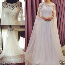 white/ivory Vintage Lace Wedding Dresses Beads Cape Cloak Bridal Gowns Custom