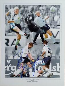 Paul Gazza Gascoigne signed Euro 96 Montage Photo Proof goal v Scotland COA