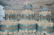 3 Piece Diaper Cake - Carousel Merry Go Round Theme - Boy Blue White Silver