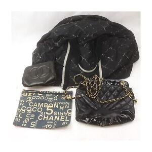 Chanel Leather Canvas Nylon Shoulder/Travel Bag Pouch 4pc set Junk 524841